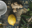 Ginger lemon honey peppermint tea fixins